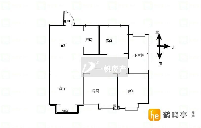 荷塘月色 毛坯三房 91.5平 72万可直接更名