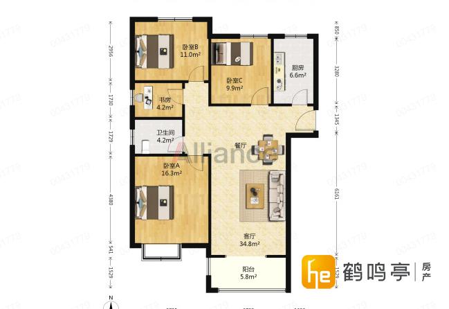 中海世纪公馆 精装中间楼层 159万出售可加微信看房子全景