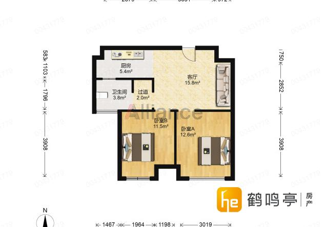锦盛豪庭 毛坯两房 户型方正 中上楼层 包税出售